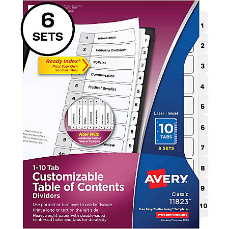 "Avery® Ready Index Tab Divider - 60 x Divider(s) - Printed Tab(s) - 10 Tab(s)/Set - 8.5"" Divider Width x 11"" Divider Length - Letter - 8 1/2"" Width x 11"" Length - 3 Hole Punched - White Paper Divider - White Paper Tab(s) - 6 / Pack"