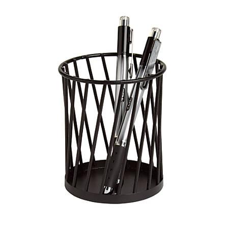"Realspace™ Wire Pencil Cup, 4""H x 3 1/2""W x 3 1/2""D, Black"