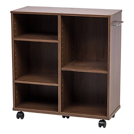 "IRIS 26""H 5-Shelf Wide Rolling Shelves, Dark Brown"