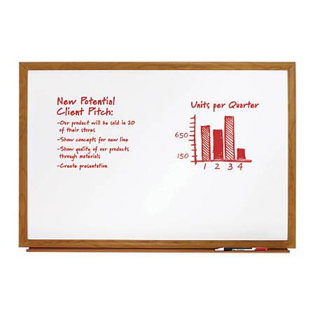 "FORAY™ Melamine Dry-Erase Board, Oak Finish Frame, 24"" x 36"""