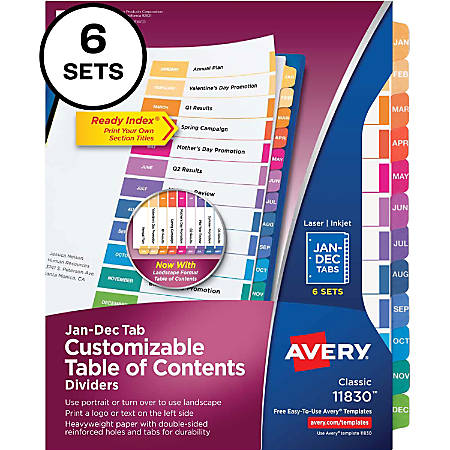 "Avery® Ready Index(R) Monthly Dividers, Customizable Table of Contents, Classic Multicolor Tabs, 6 Sets (11830) - Printed Tab(s) - Month - Table of Contents, January-December - Letter - 8 1/2"" Width x 11"" Length"