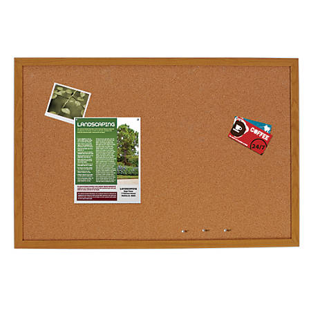 """FORAY™ Cork Bulletin Board, Oak Finish Frame, 48"""" x 34 1/2"""""""