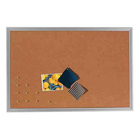 """FORAY™ Cork Bulletin Board, Aluminum Frame, 36"""" x 24"""""""