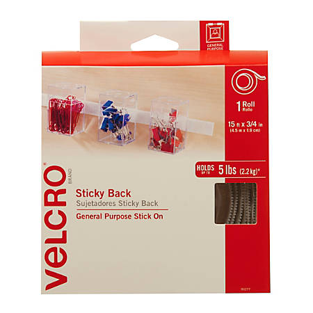 "VELCRO® Brand STICKY BACK® Tape Roll, 3/4"" x 15', White"