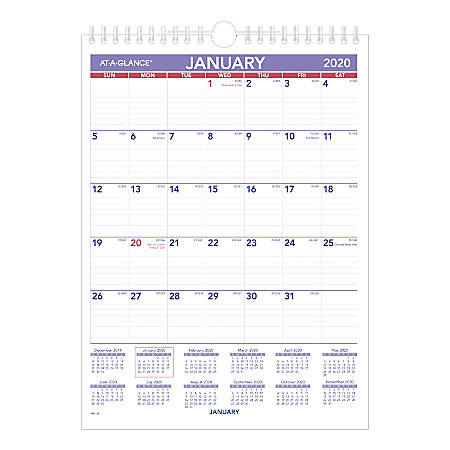 "AT-A-GLANCE® Mini Monthly Wall Calendar, 8"" x 12"", Blue/Red, January To December 2020, PM128"