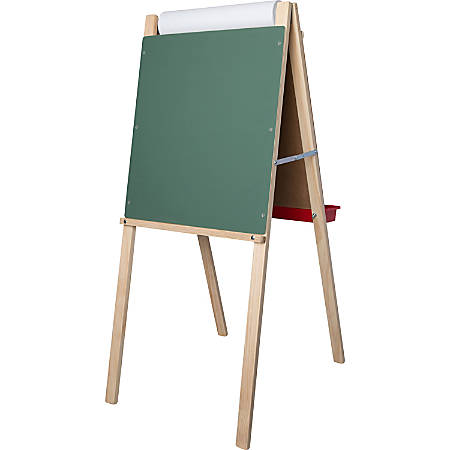 Flipside Child's Deluxe Double Easel - White/Green Surface - Solid Wood Frame - Rectangle - Floor Standing - Assembly Required - 1 Each