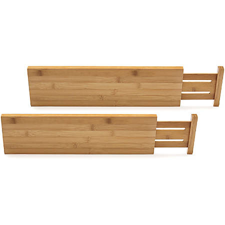 "Lipper Bamboo Kitchen Drawer Dividers, Set of Two - Regular - 22"" Length x 0.6"" Width x 5"" Height - Bamboo - Light Wood"