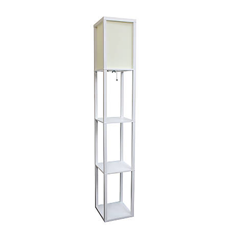 "Simple Designs Etagere Organizer Floor Lamp, 63 3/8""H, Linen Shade/White Base"