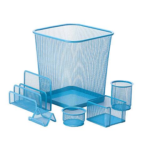 Honey-Can-Do 6-Piece Mesh Desk Organizer Set, Blue