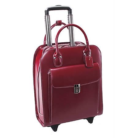 """McKlein Uptown Vertical Wheeled Briefcase with 15"""" Laptop Pocket, Red"""