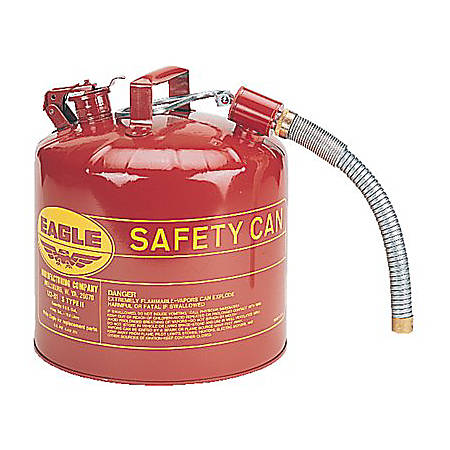 "Eagle Type II Safety Can For Flammables With 12"" Flexible Spout, 5 Gallon, Red"