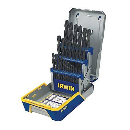 IRWIN Black Oxide Industrial Drill Bit Set with Metal Index, 29-Bits