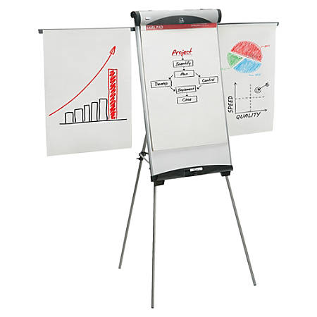 "SKILCRAFT® Euro Magnetic Lightweight Telescoping Presentation Floor Easel, 47 1/2"" to 73 1/2"" High, Aluminum, White (AbilityOne 7520-01-642-1221)"