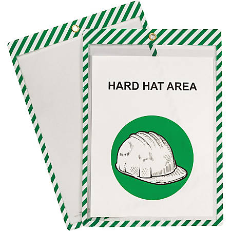 """C-Line Safety Striped Shop Ticket Holders - 0.1"""" x 9.8"""" x 13.6"""" - 25 / Box - White, Green"""