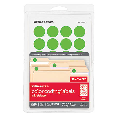 "Office Depot® Brand Removable Round Color-Coding Labels, OD98787, 3/4"" Diameter, Green Neon, Pack Of 1,008"