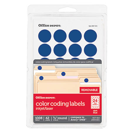 "Office Depot® Brand Removable Round Color-Coding Labels, OD98790, 3/4"" Diameter, Dark Blue, Pack Of 1,008"