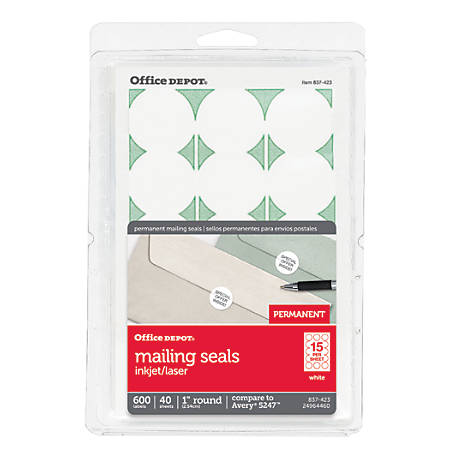 "Office Depot® Brand Permanent Mailing Seals, 1"" Diameter, White, Pack Of 600"