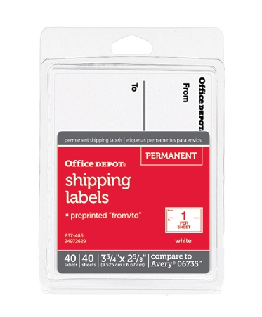 "Office Depot® Brand White To/From Shipping Label Pad, OD98806, 3 3/4"" x 2 5/8"", Pack Of 40"