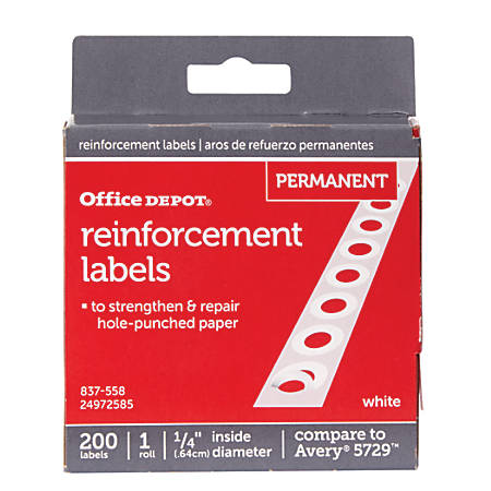 "Office Depot® Brand Permanent Self-Adhesive Reinforcement Labels, 1/4"" Diameter, White, Pack Of 200"