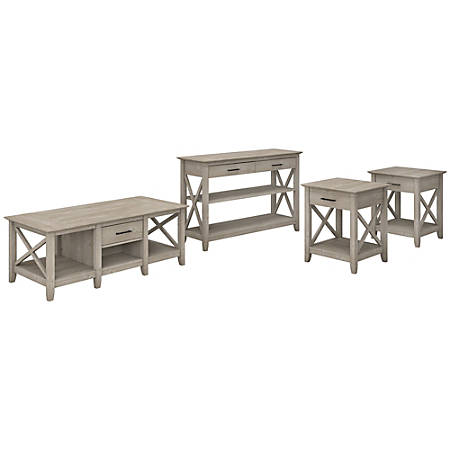 Bush Furniture Key West Coffee Table With Console Table And Set Of 2 End Tables, Washed Gray, Standard Delivery