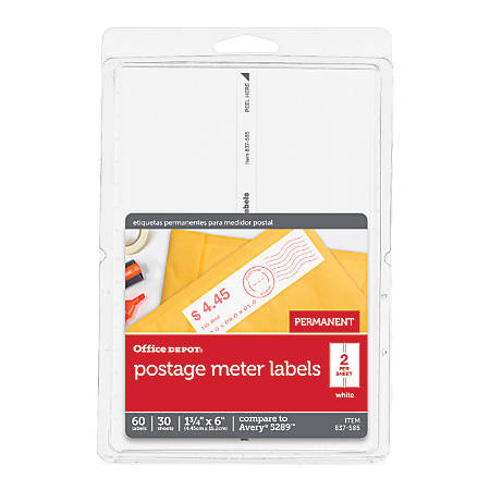 """Office Depot® Brand Postage Meter Labels For Personal Post Office™ E700, 3585401838, 1 3/4"""" x 6"""", White, Pack Of 60"""