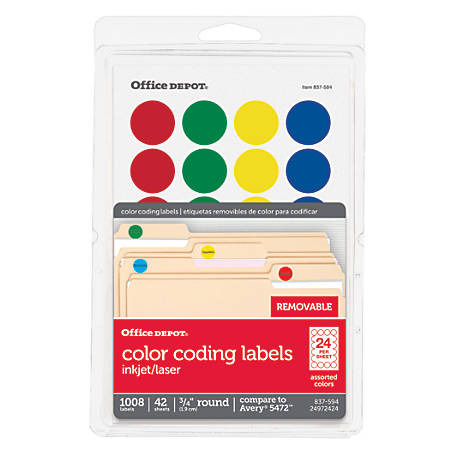 Print office depot brand removable round color