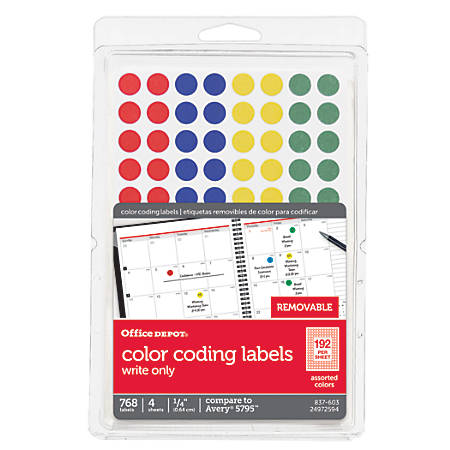 "Office Depot® Brand Removable Round Color-Coding Labels, OD98803, 1/4"" Diameter, Multicolor Dots, Pack Of 768"