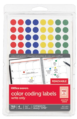 Office Depot Brand Removable Round Color Coding Labels OD98803 14 Diameter  Multicolor Dots Pack Of 768 by Office Depot & OfficeMax