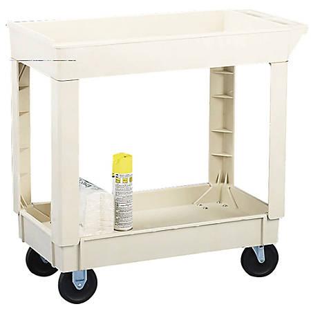 "Continental Heavy-Duty 2-Shelf Utility Cart, 200-Lb Capacity, 34 3/8""H x 17 1/2""W x 33""D, Beige"