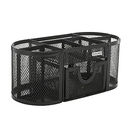 "Rolodex® Mesh Oval Pencil Cup And Organizer, 3 7/8""H x 4 1/2""W x 9 5/16""D, Black"
