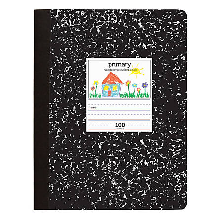 """Office Depot® Brand Primary Composition Book, 7 1/2"""" x 9 3/4"""", Unruled/Primary Ruled, 100 Sheets"""