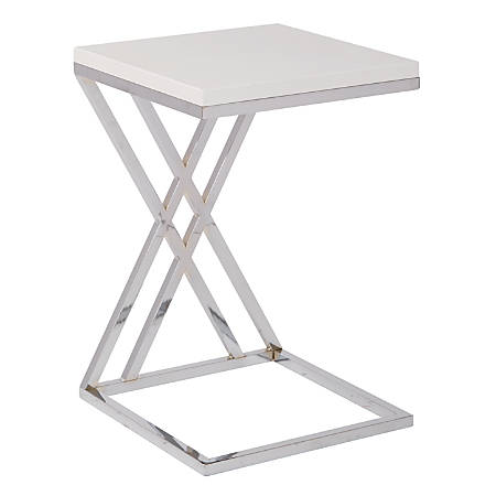 Ave Six Wall Street Table, Coffee, Square, White/Chrome