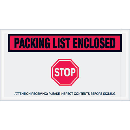 """Tape Logic® Preprinted Packing List Envelopes, Packing List Enclosed - Stop, 5 1/2"""" x 10"""", Red, Case Of 1,000"""