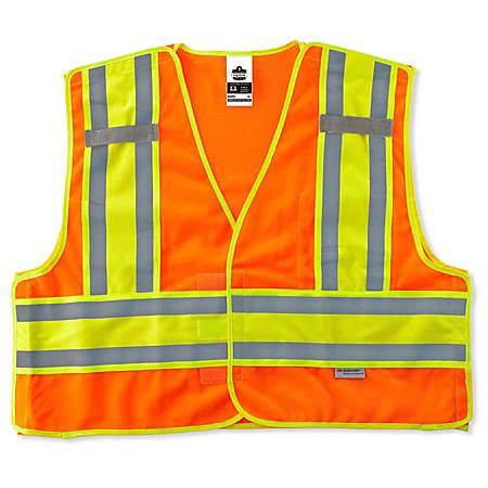 Ergodyne GloWear Safety Vest, Public, Type-P Class 2, 4X/5X, Orange, 8245PSV