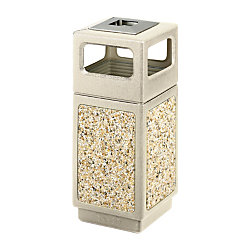 "Safco® Plastic/Stone Aggregate Receptacle, 15 Gallons, 33"" x 13 3/4"" x 13 3/4"", Tan"