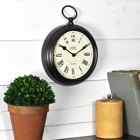 "FirsTime® Station Clock, 9""H x 7""W x 5 1/2""D, Black"