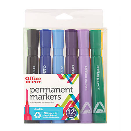 Office Depot® Brand Permanent Markers, Chisel Point, 100% Recycled, Assorted Colors, Pack Of 12