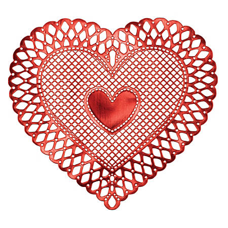 "Amscan Heart Vinyl Valentine's Day Placemats, 15"" x 16-3/4"", Red, Pack Of 4 Placemats"