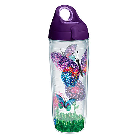 Tervis American Cancer Society Butterflies Water Bottle With Lid, 24 Oz, Clear