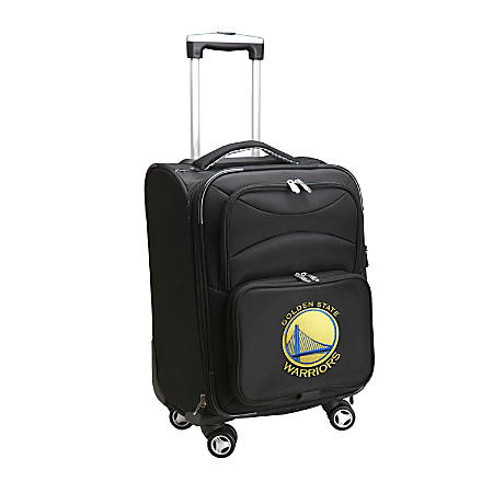 "Denco ABS Upright Rolling Carry-On Luggage, 21""H x 13""W x 9""D, Golden State Warriors, Black"