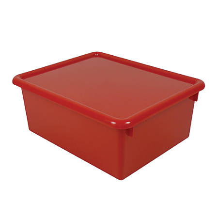"Stowaway® 5"" Letter Box, With Lid, 5""H x 10 1/2""W x 13""D, Red, Pack Of 3"