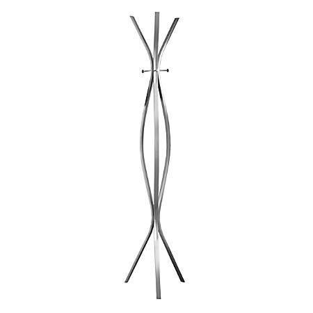 Monarch Specialties 3-Hook Metal Coat Rack, Silver
