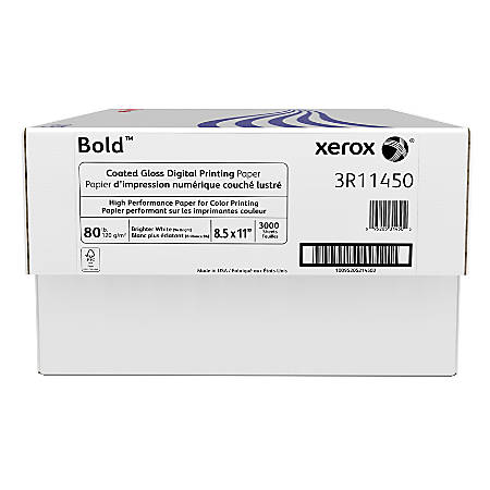 Xerox® Bold Digital™ Coated Gloss Printing Paper, Letter Size, 94 Brightness, 80 Lb Text (120 gsm), FSC® Certified, 500 Sheets Per Ream, Case Of 6 Reams
