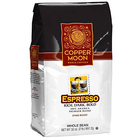 Copper Moon Coffee Whole Bean Coffee, Espresso Roast, 2 Lb Per Bag, Case Of 4 Bags