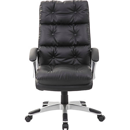 Boss Office Products Button-Tufted High-Back Chair, Black/Silver