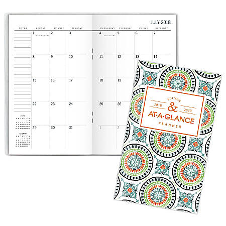 AT-A-GLANCE® Badge Tile 24-Month Academic Monthly Pocket Planner, 3 5/8