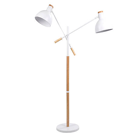 Lumisource Pix Duo Contemporary Floor Lamp, Natural Wood/Matte White