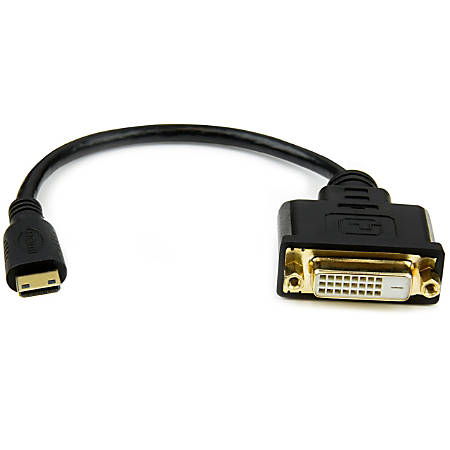 StarTech.com Mini HDMI to DVI-D Adapter M/F - 8in - First End: 1 x Mini HDMI Male Digital Audio/Video - Second End: 1 x DVI-D Female Digital Video - Supports up to 1900 x 1200 - Shielding - Gold Plated Connector - Black