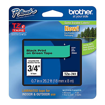 "Brother® TZe-741 Black-On-Green Tape, 0.75"" x 26.2'"