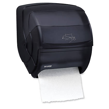 "San Jamar® Integra Lever Towel Dispenser, 13 1/2"" x 11 1/2"" x 11 1/4"", Black/Pearl"